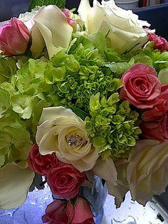Green hydrangea creams roses pink spray roses calli lilies
