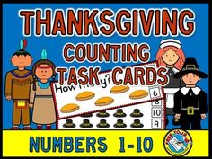 This hands-on fun pack, containing 20 #task #cards, is an ideal resource for your #Math #Center. Children have to #count the #Thanksgiving items (1-10) and #clip the #peg onto the corresponding #number.  #MATH #COUNTING #CLIPCARDS #TASKCARDS #THANKSGIVING #KINDERGARTEN #NUMBERS