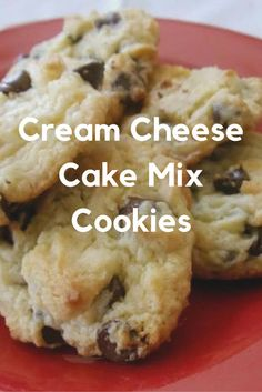 Cream Cheese Cake Mix Cookies Deliciously sweet and buttery! We used a butter cake mix and added chocolate chips. This, along with the cream cheese, turned these cookies into the ultimate sweet treat. Brownie Desserts, Oreo Dessert, Coconut Dessert, Cake Mix Desserts, Cake Mix Cookie Recipes, Brownie Cookies, Mini Desserts, Yummy Cookies, Just Desserts
