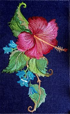 Machine Embroidery Applique, Free Machine Embroidery Designs, Crewel Embroidery, Hand Embroidery Patterns, Embroidery Digitizing, Beaded Embroidery, Embroidery Services, Brazilian Embroidery, Hibiscus