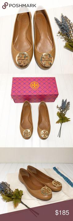 NIB Tory Burch Claire Reva Leather Ballet Flats Black// Gold 7.5