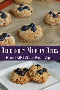 """Do you remember the """"Muffin Tops"""" episode of Seinfeld? This recipe for AIP blueberry muffin bites is my nod to that because it's all muffin top no """"stump""""! Seinfeld, Blueberry Muffin Top Recipe, Paleo Blueberry Muffins, Egg Muffins, Tapas, Aip Diet, Paleo Breakfast, Breakfast Cookies, Breakfast Ideas"""