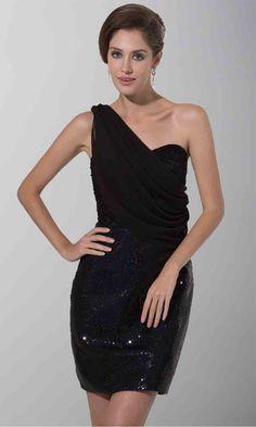 One Shoulder Sequin LBD Beaded Club Dresses KSP185