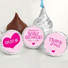 Baby Shower Favors - Girls Party Favors - Pink Hearts Baby Shower Favors - Hershey®️ Kiss Stickers - Kiss Seals - 108 Stickers #catchmyparty #babyshower #partyfavor #partysupplies