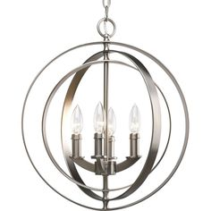 Progress Lighting P3827-126 4-Light Sphere Foyer Lantern, Burnished Silver #ProgressLighting