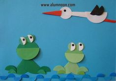 Stork and frogs