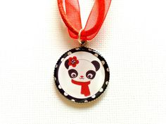 Panda Necklace  Red Panda Necklace for Girls  by splendorhoney, $11.00