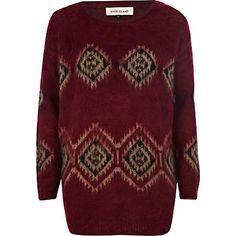 Red brushed pattern knit jumper - jumpers - knitwear - women
