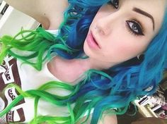 Blue and green ombre hair