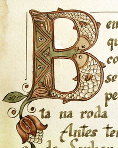 Letter B ♥ by Veronika Filippova, via Behance Medieval Books, Medieval Manuscript, Medieval Art, Alphabet Art, Letter Art, Graffiti Alphabet, Illuminated Letters, Illuminated Manuscript, Celtic Art