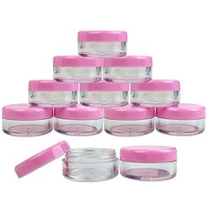 (Quantity: 25 Pcs) Beauticom® High Quality Round Clear Jars with Pink Lids for Lotion, Creams, Toners, Lip Balms, Makeup Samples - BPA Free: Lip Plumper, Lip Balms, Cosmetic Containers, Hand Therapy, Makeup Samples, Nail Accessories, Eyeshadow, Lips, Jar