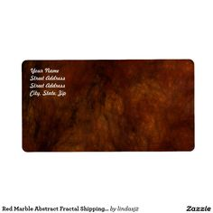 Red Marble Abstract Fractal Shipping Label