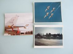 Three color United States Air Force photographs of planes. One of the pictures is of a missile on the side of the plane. One is of five fighter jets flying. The last is of four jets on the runway.