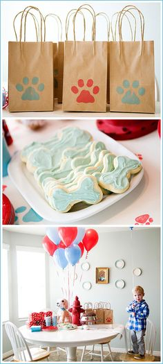 Puppy Dog Gift Bags and Cookie Party ideas in Red & Blue