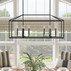 Laurel Foundry Modern Farmhouse Odie Kitchen Island Square/Rectangle Pendant Bulb Type: Not Included, Finish: Blacksmith Chandeliers, Farmhouse Pendant Lighting, Pendant Lights, Rectangle Chandelier, Drum Chandelier, Entryway Chandelier, Empire Chandelier, Linear Chandelier, Foyer