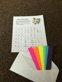 Each student gets a worksheet with 6 phrases, extracted from folk songs/literature that the students are familiar, and a set of 6 colored strips. Teachers sings/plays a pattern and students cover the pattern on the worksheet with the assigned color strip.