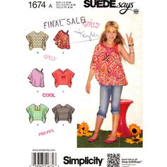 Girls Poncho Top Pattern Simplicity 1674 Beach Top Suede Collection Size 8 to 16 UNCUT - product images  of