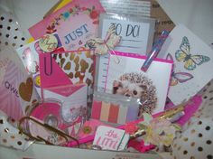 Pink and Gold Surprise Goody Box Planner Kit Filled with Stationery, Planner & Snail Mail Supplies