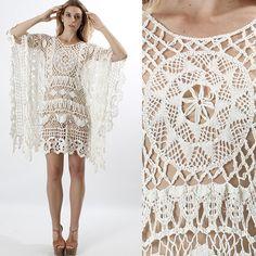 vintage 70s Sheer CROCHET LACE knit caftan Wedding draped boho festival mini dress