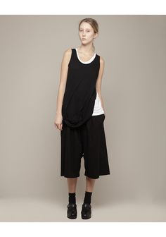 Y'S / TWISTED HEM DOUBLE TANK