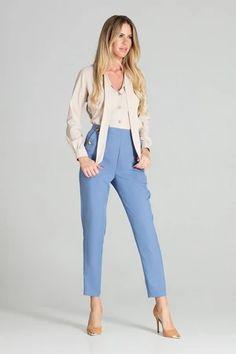 Shirt model 141749 Figl – Blushgreece.shop Blue Pants, Casual Pants, Mom Jeans, Long Sleeve Shirts, Spandex, Zipper, Chic, Women, Products