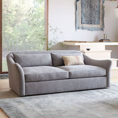 """I like this sofa also at only 86"""" Brooke. With the pink chairs.    Delaney Down-Filled Sofa - Pumice 