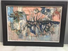 Mid Century Modern Abstract Expressionist Dark Gothic Si-Fi Oil Painting Signed #Abstract