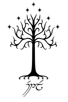 Lord of the Rings tattoo idea. The White Tree of Gondor with Estel (Hope) in Tengwar.