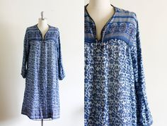 70's Indian Cotton Dress / Gauze Dress by wemovevintage on Etsy