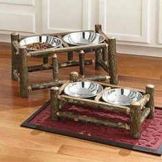 Rustic pet bowl stand
