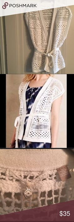 Crochet sweater White crochet sweater vest. Great piece to throw over a tank or cami. VGUC. Anthropologie Sweaters Cardigans