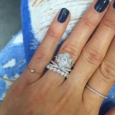 I love the mix of a traditional Oval ring with Epaulette side stones with this modern wedding band stack Try this engagement ring on now using the app Stacked Engagement Ring, Stacked Wedding Bands, Modern Engagement Rings, Beautiful Engagement Rings, Wedding Ring Bands, Female Wedding Bands, Bridal Rings, Beautiful Wedding Rings, Dream Wedding