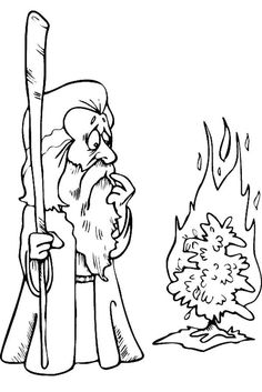 color moses and the burning bush