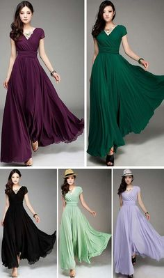 Elegant Fashion Maxi Surplice Chiffon Dress has a v neckline, and cap sleeves,high waist ruffles. Totally maxi and that still keeps you fashion and graceful. Pair it with a strappy bra and high heels!Check more from www.azbro.com
