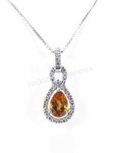 14K White Gold Citrine and Diamond Pendant #citrine #finejewelry #wickliffauction