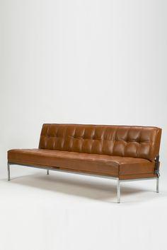 Johannes Spalt; Chromed Metal and Leather Constanzebank Sofa for Wittmann, 1961.