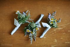 Cute rustic boutonnieres with lavender, rosemary, and chamomile. Design by Karla Cassidy Designs http://www.karlacassidydesigns.com Image courtsey of Lara Kimmerer Photography www.larakimmerer.com