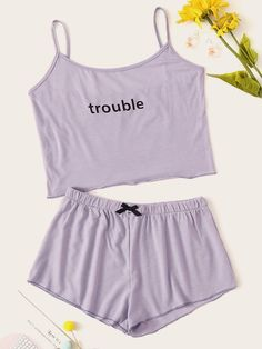 To find out about the Letter Print Cami Pajama Set at SHEIN, part of our latest Lounge Sets ready to shop online today! Cute Pajama Sets, Cute Pajamas, Pajamas Women, Sexy Pajamas, Pyjamas, Cute Lazy Outfits, Girl Outfits, Fashion Outfits, Pastel Outfit
