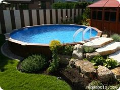 84 Great Above-Ground Swimming Pool Ideas. above ground pool deck ideas, above ground pool ideas, above ground pool landscape ideas, above ground pool landscaping. Above Ground Pool Landscaping, Above Ground Pool Decks, Backyard Pool Landscaping, Above Ground Swimming Pools, In Ground Pools, Landscaping Ideas, Backyard Ideas, Backyard Bar, Fence Ideas