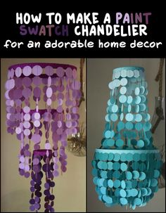 Looking for an adorable decor you can add to a boring spot in your home? How about this colourful paint swatch chandelier!
