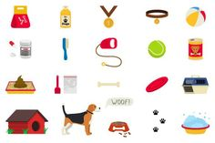 Dog care object set, items and stuff. Medical Infographic. $8.00