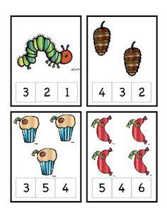 The Very Hungry Caterpillar Number Cards Clothespin Activity- Great Source! Preschool Books, Preschool Printables, Kindergarten Math, Math Activities, Preschool Activities, Math Gs, Math Work, Hungry Caterpillar Activities, Very Hungry Caterpillar