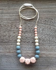 Silicone Teething Necklace in Peachy Pink