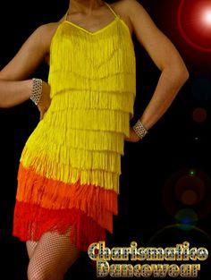 Orange Fringe Dance Latin Dress