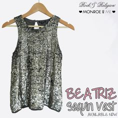 Now available at @monroeandme the beautiful BEATRIZ embellished vest top. Guaranteed to create ultimate glamour with minimal effort!  Shop now: http://www.monroeandme.com/uae-catalogue/collections/glitz/beatriz-sequin-vest/c-24/c-155/p-3216