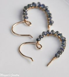 Sapphire Heart Hoop Earrings, September Birthstone