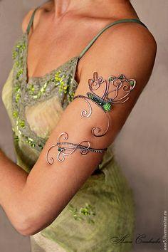 """Купить Колье """"Butterfly"""" - зеленый, медь, медное, медный, колье, медное колье, Колье из меди"""