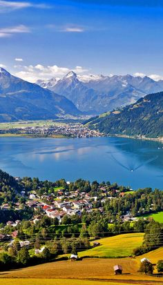 Beautiful view of the city of Zell am See with Zeller Lake in Salzburg, Salzburger Land, Austria