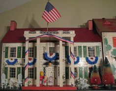 My patriotic decorated plantation style dollhouse.