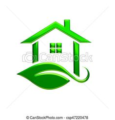 Stock Illustrations of Green Eco House Logo. 3D Rendering Illustration csp47220478 - Search EPS Clipart, Drawings, Illustration, and Vector Graphics Images